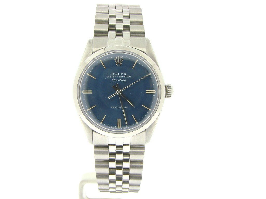 mens rolex air king no date stainless steel watch blue stick dial fullview
