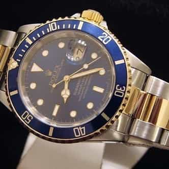 Mens Rolex Two-Tone 18K/SS Submariner Blue  16613 (SKU T883070BCMT)