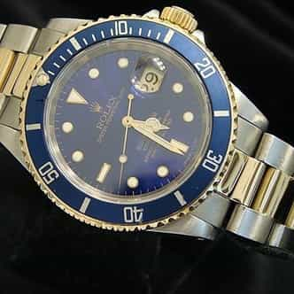 Mens Rolex Two-Tone 18K/SS Submariner Blue  16613 (SKU X634201BCMT)