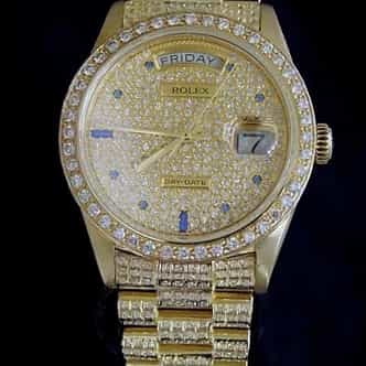 Mens Rolex 18K Gold Day-Date President Full Diamond 18038 (SKU 5952948MT)