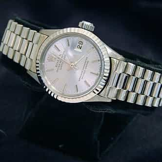 Ladies Rolex 18K White Gold Datejust President Silver  6917 (SKU 2993339aMT)