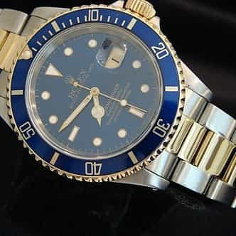 Mens Rolex Two-Tone 18K/SS Submariner Blue  16613 (SKU X771530BCMT)