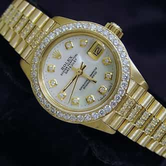 Ladies Rolex 18K Yellow Gold Datejust President Full Diamond White  6917 (SKU 7331852MT)