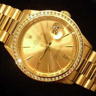 Mens Rolex 18K Yellow Gold Datejust Champagne Diamond 1601 (SKU 2241111MT)