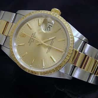 Pre Owned Mens Rolex Two-Tone Date with a Gold/Champagne Dial 15223 (SKU N285647M)