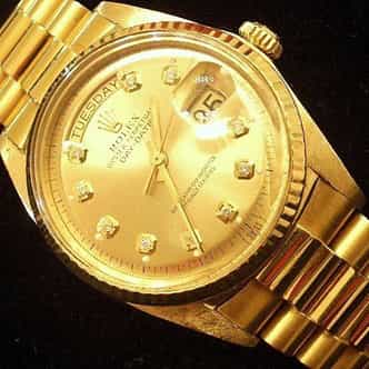 Mens Rolex 18K Gold Day-Date President Champagne Diamond 1803 (SKU 1841111MT)