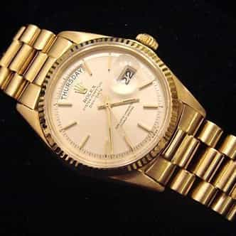 Mens Rolex 18K Gold Day-Date President Silver  1803 (SKU 8591111MT)