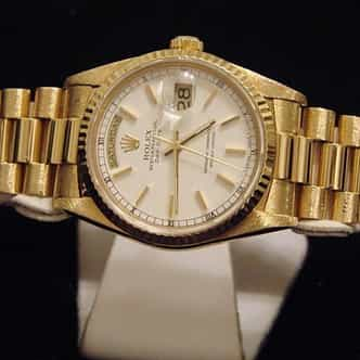 Mens Rolex 18K Gold Day-Date President White  18238 (SKU L900511MT)