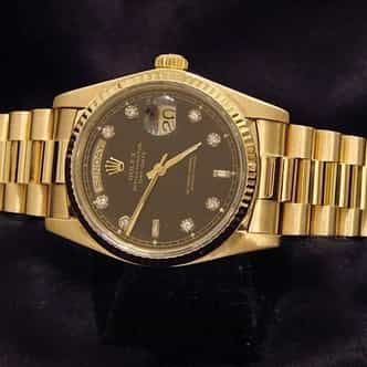 Mens Rolex 18K Gold Day-Date President Black Diamond 18038 (SKU 8322544MT)