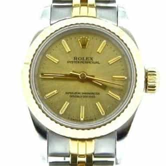 Ladies Rolex Two-Tone 18K/SS Oyster Perpetual Champagne  67193 (SKU N110395NCMT)