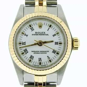 Ladies Rolex Two-Tone 18K/SS Oyster Perpetual White Roman 67193 (SKU S544827NMT)