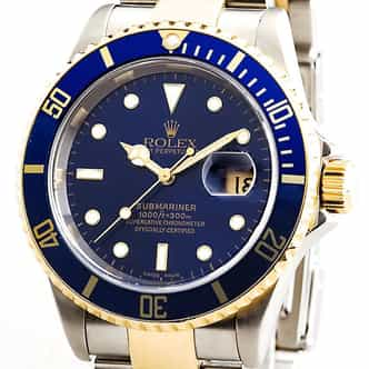 Mens Rolex Two-Tone 18K/SS Submariner Blue  16613T (SKU 16613TBLNHMT)