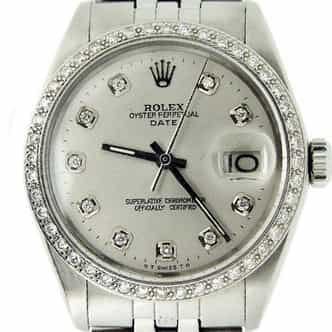 Mens Rolex Stainless Steel Date Silver Diamond (SKU 3220120MT)