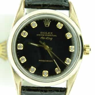 Mens Rolex Gold Shell Air-King Black Diamond 5520 (SKU 555393CMT)