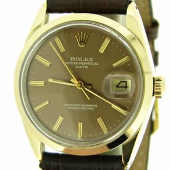 Mens Rolex 14K Gold Shell Date Bronze Brown 15505 (SKU 6076541BMT)