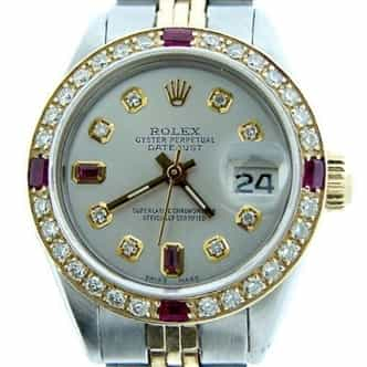 Ladies Rolex Two-Tone Datejust Silver Diamond Ruby (SKU 7041906MT)