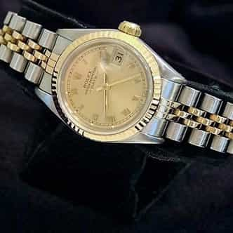 Ladies Rolex Two-Tone 18K/SS Date Champagne Roman 69173 (SKU 8407374MT)