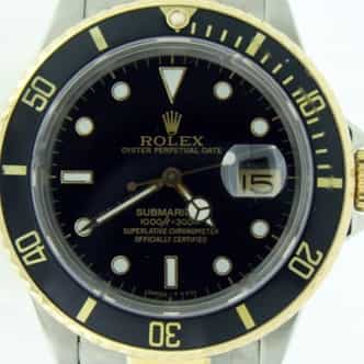 Mens Rolex Two-Tone 18K/SS Submariner Black  16803 (SKU 9301427BCMT)
