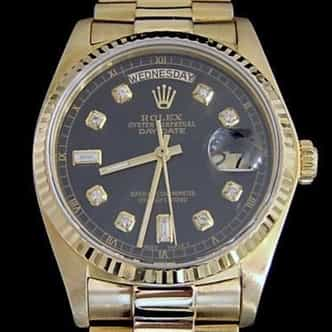 Mens Rolex 18K Day-Date President Diamond Black 18038 (SKU 5909029AMT)