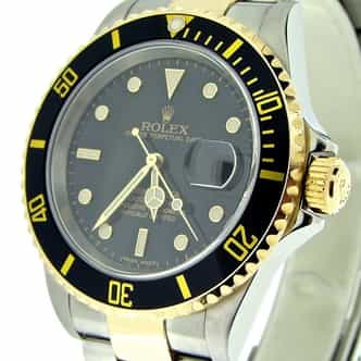 Mens Rolex Two-Tone 18K/SS Submariner Black  16613T (SKU D690579MT)