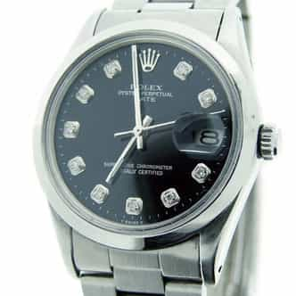Mens Rolex Stainless Steel Date Black Diamond 1500 (SKU DA2923DMT)