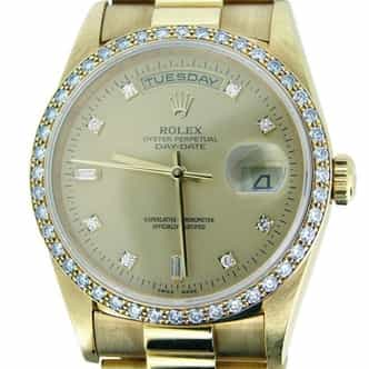 Mens Rolex 18K Gold Day-Date President Champagne Diamond 18238 (SKU DD3655MT)