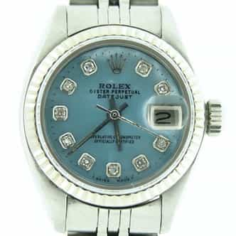 Ladies Rolex Stainless Steel Datejust Blue MOP Diamond 6917 (SKU DJ8127MT)