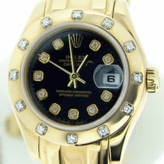 Ladies Rolex 18K Yellow Gold Datejust Pearlmaster Black Diamond 80318 (SKU 80318PMDJMTP)