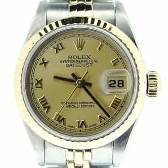 Ladies Rolex Two-Tone 18K/SS Datejust Champagne Roman 69173 (SKU U83503MT)