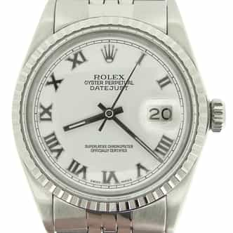 Mens Rolex Stainless Steel Datejust White Roman 16030 (SKU 9247369MT)