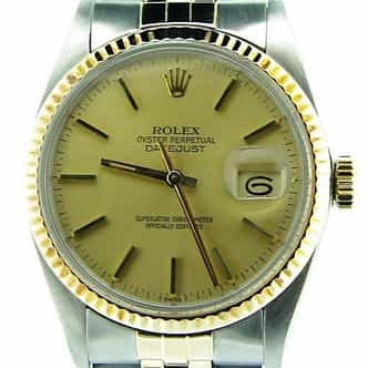 Mens Rolex Two-Tone Datejust Champagne  16013 (SKU 7210401BCMT)
