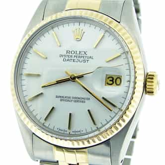 Mens Rolex Two-Tone 18K/SS Datejust White  16013 (SKU 6244756MT)