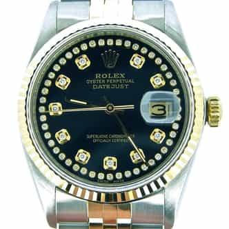 Mens Rolex Two-Tone 18K/SS Datejust Black Diamond 16013 (SKU 8295337JRCMNNMT)