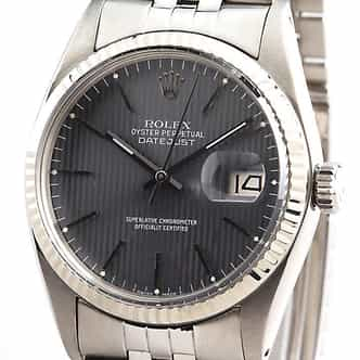 Mens Rolex Stainless Steel Datejust Gray Slate  16014 (SKU 16014B11MT)