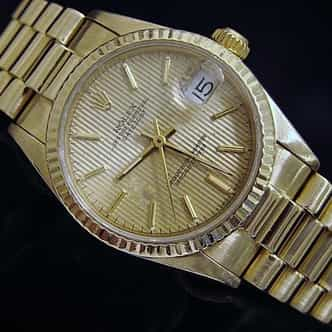 Mid Size Rolex 18K Yellow Gold Datejust President Tapestry  68278 (SKU 9629978MT)