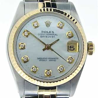 Mid Size Rolex Two-Tone Datejust White MOP Diamond 6827 (SKU 6539319MT)