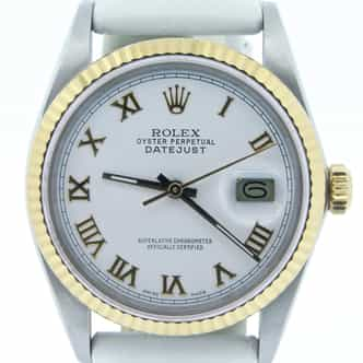 Mens Rolex Two-Tone 18K/SS Datejust White Roman 16013 (SKU 9826962MT)
