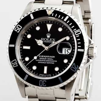 Mens Rolex Stainless Steel Submariner Black  16610 (SKU 16610111NNBCMT)
