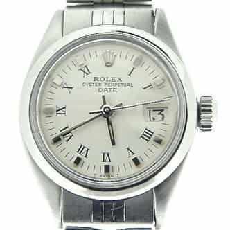 Ladies Rolex Stainless Steel Date White Roman 6916 (SKU 5013332MT)