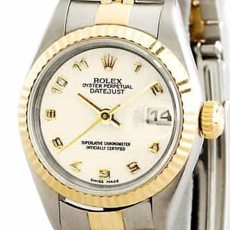 Ladies Rolex Two-Tone 18K/SS Datejust Ivory Arabic 69173 (SKU 2TL69173MT)