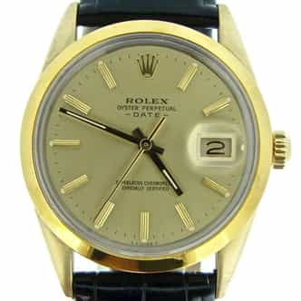 Mens Rolex 14K Gold Shell Date Champagne 1550 (SKU 5369310BMT)
