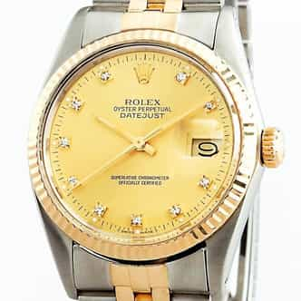 Mens Rolex Two-Tone Datejust Champagne Diamond 16013 (SKU 16013DDBNNMT)