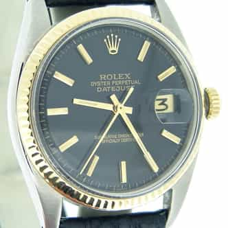 Mens Rolex Two-Tone 14K/SS Datejust Black  1601 (SKU 1040821BCMT)