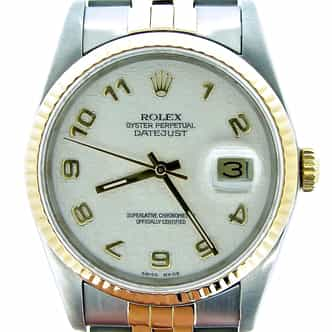 Mens Rolex Two-Tone 18K/SS Datejust White Arabic 16233 (SKU L288020MT)