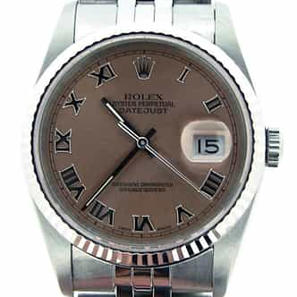 Mens Rolex Stainless Steel Datejust Salmon Roman 16234 (SKU L936468MT)