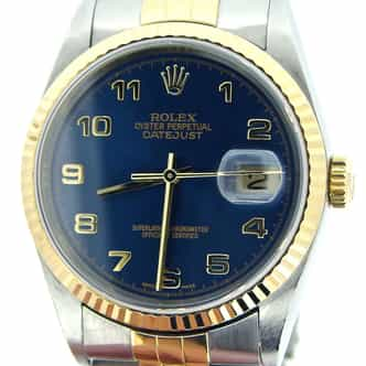 Mens Rolex Two-Tone 18K/SS Datejust Blue Arabic 16233 (SKU Y236727BCMT)