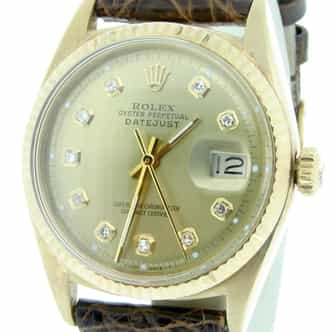Mens Rolex 18K Yellow Gold Datejust Champagne Diamond 1601 (SKU 1601NQ18KDJLBCMT)