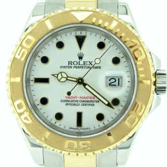 Pre Owned Mens Rolex 18K Two-Tone Yacht-Master White  16623 (SKU Z375255MT)