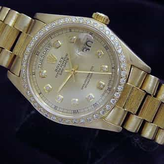 Mens Rolex 18K Gold Day-Date President Champagne Diamond (SKU 6044181MT)