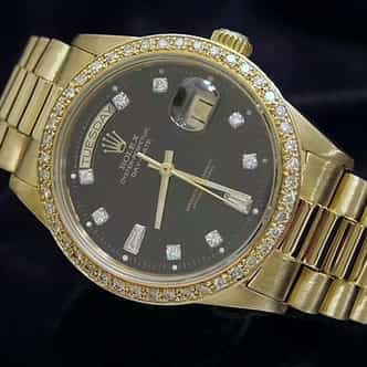 Mens Rolex 18K Gold Day-Date President Black Diamond 18038 (SKU 8378376MT)